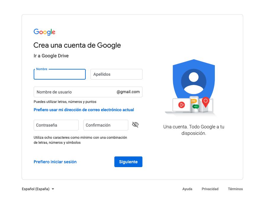 Cómo crear una cuenta de Google Drive 2